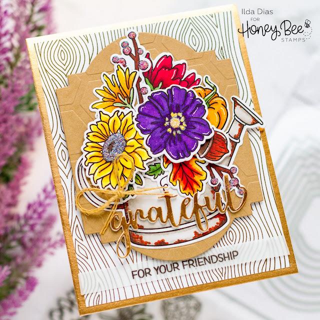 Bouquet,Friendship,Autumn Splendor,Grateful,Honey Bee Stamps,Sneak Peek,Card,Garden Harvest Florals,Card Making, Stamping, Die Cutting, handmade card, ilovedoingallthingscrafty, Stamps, how to,