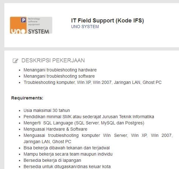 Lowongan Kerja Hari Ini It Field Support Di Uno System Update 15