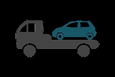 A car on a shipping trailer icon.