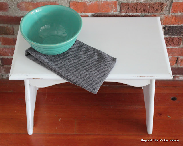 White paint from Fusion Mineral Paint transforms a small bench