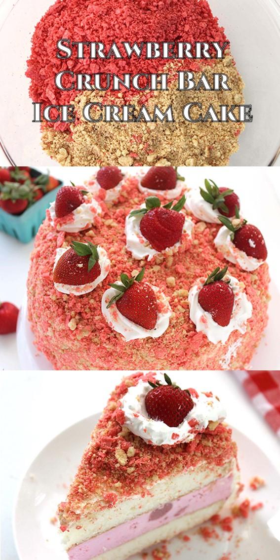 Strawberry Crunch Bar Ice Cream Cake #Strawberry #Crunch #Bar #IceCream #Cake #Cookies