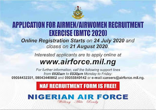Nigerian Airforce Recruitment Form 2020/2021 [Airmen & Women]