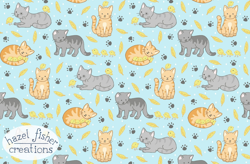 Spoonflower Contest entry Interspecies Animal Friends Cats and Birds - Friends Forever hazelfishercreations