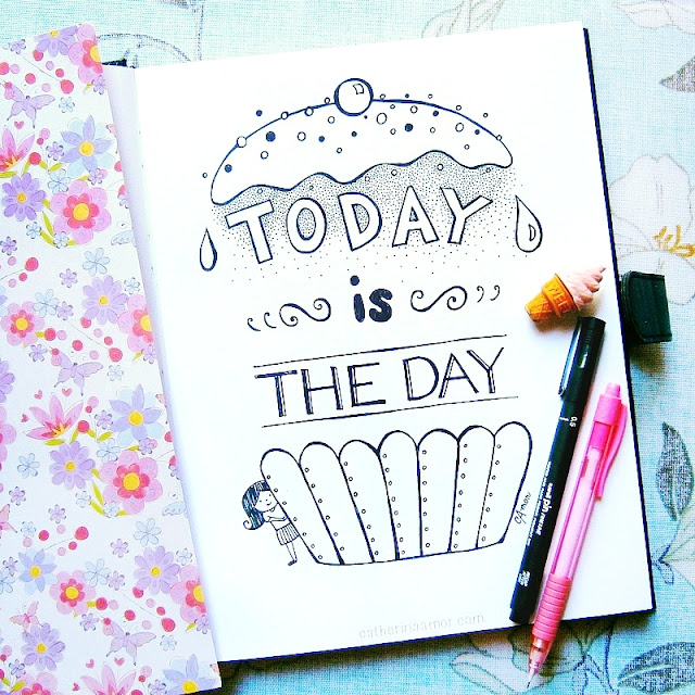 Today is the Day Quote Doodle Drawing