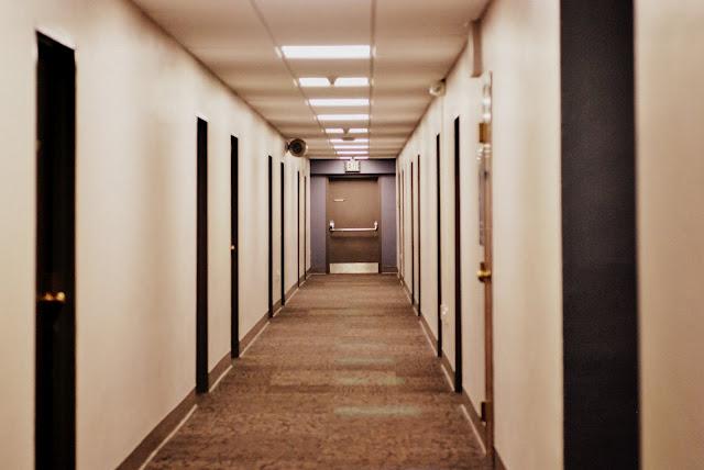Image of a dorm hallway.