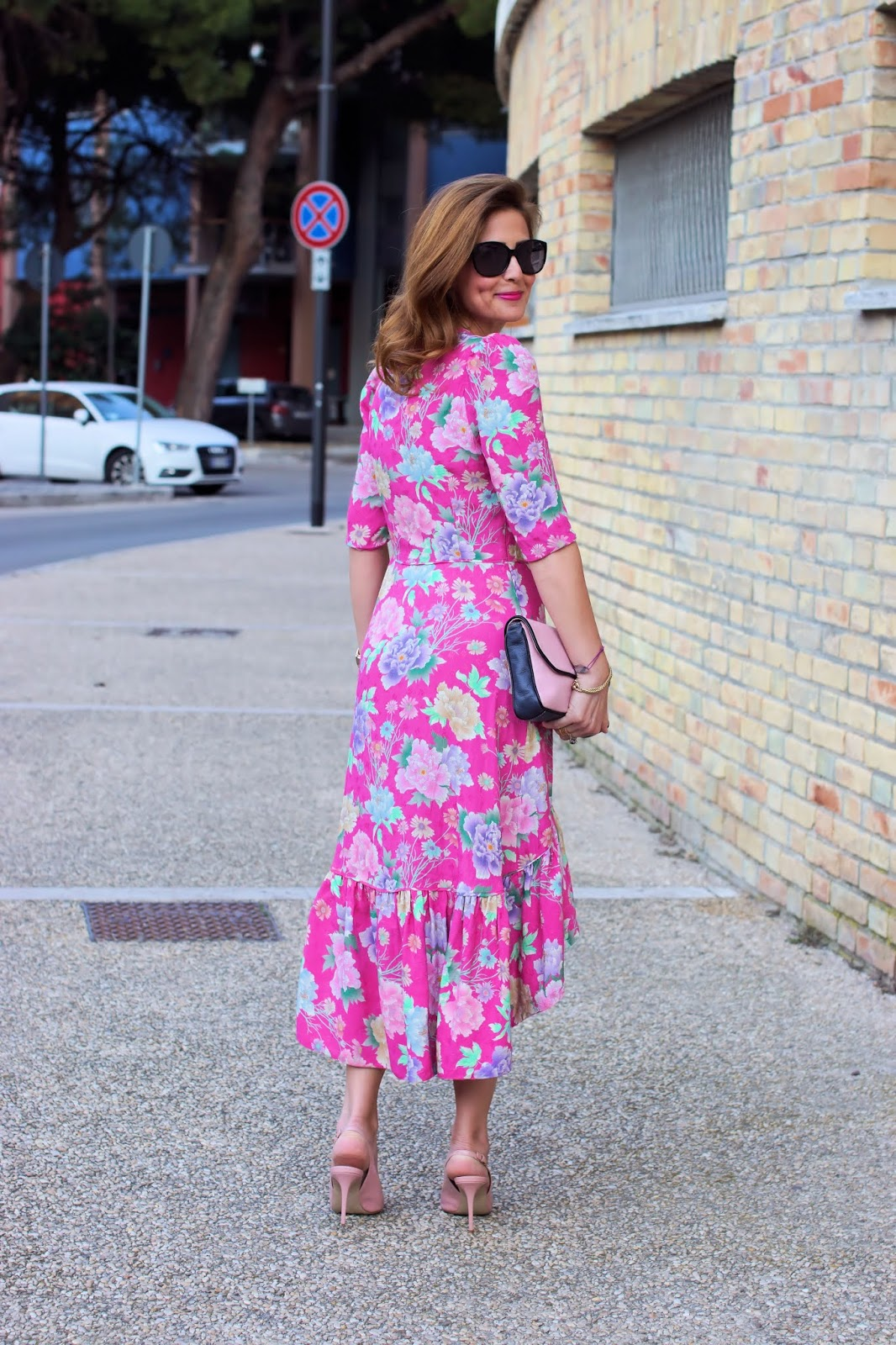 My favorite Sandro Paris dress of the season: pink, floral, hi-low, asymmetrical, ruffled on Fashion and Cookies fashion blog, fashion blogger