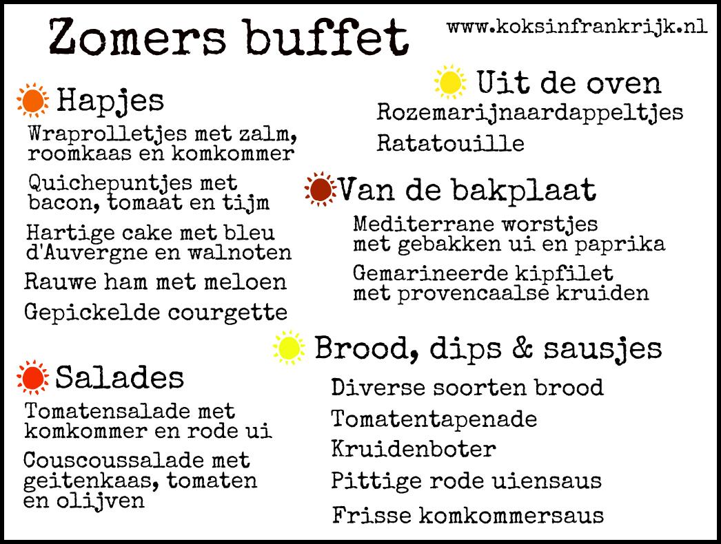 buffet voor een tuinfeest in frankrijk