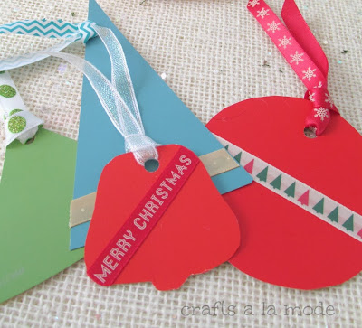 Christmas shapes paint chip tags