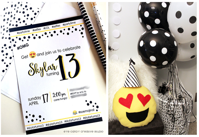 emoji birthday invite, emoji pillow, polka dots, emoji party ideas, emojis