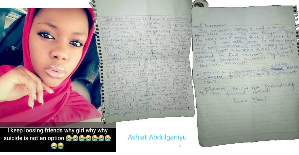 "ABU student who commited suicide ""Aishat Abdulganiyu"""