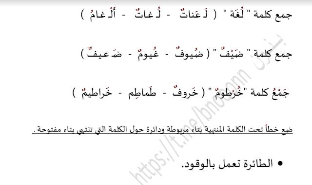 ورقة عمل 4 لغة عربية للصف الثاني الفصل الثاني