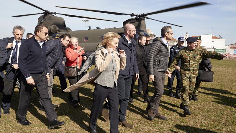 Στα σύνορα στον Έβρο ο Κυριάκος Μητσοτάκης και οι επικεφαλής της Ευρωπαϊκής Ένωσης