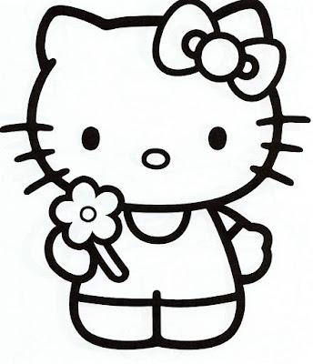 Hello Kitty dibujo para colorear con flor en la mano