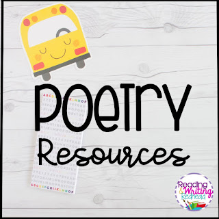title Poetry resources on white wood background
