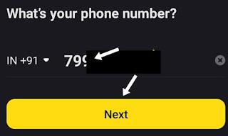 Mobile number enter kar next par click kare