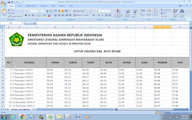 Jadwal Imsakiyah Ramadhan 1442 H Kabupaten Aceh Besar, Provinsi Aceh