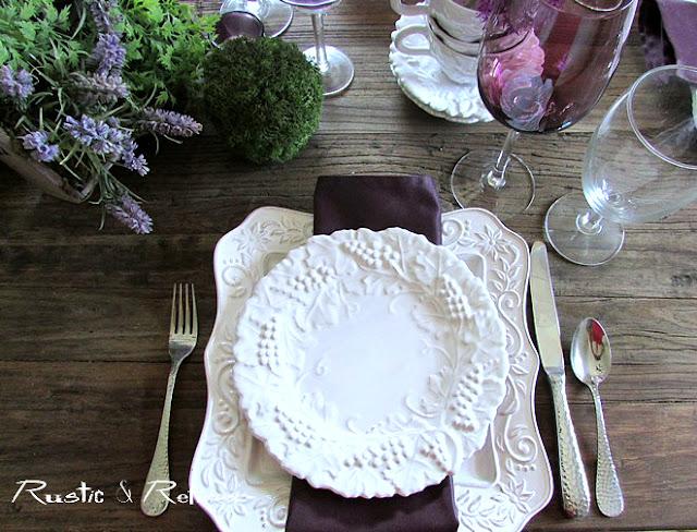 Spring Tablescape Idea using purple and white
