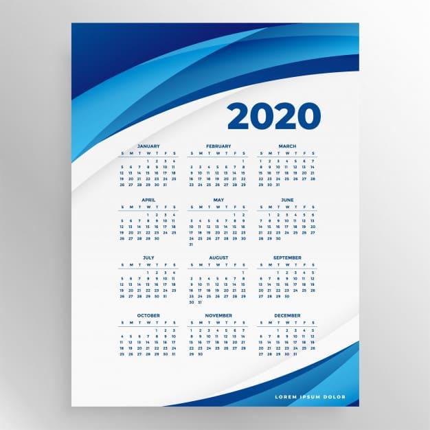 Calendario 2020 empresarial para imprimir