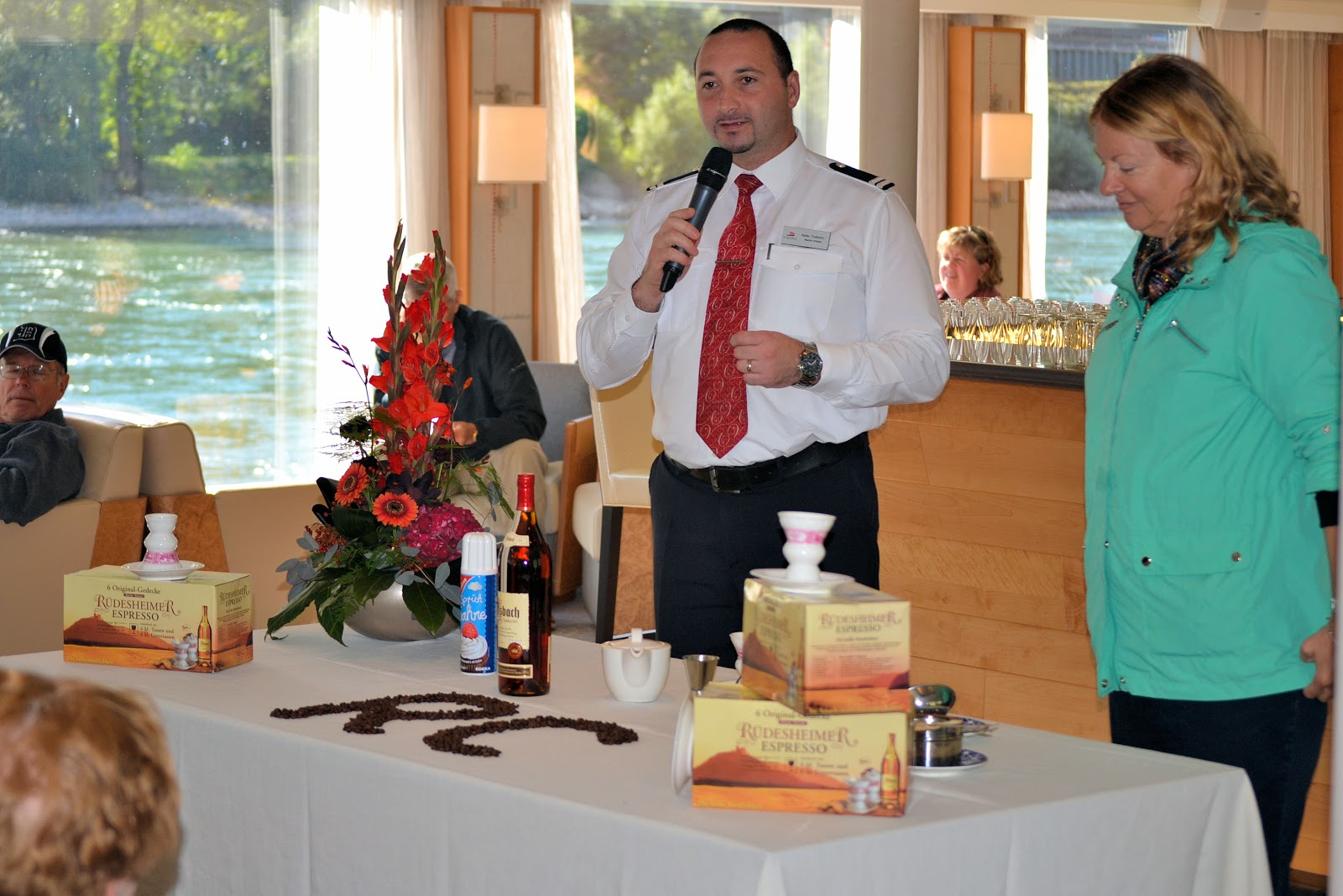Rüdesheim coffee-making demonstration in the Viking Lounge on board the Viking Mani.