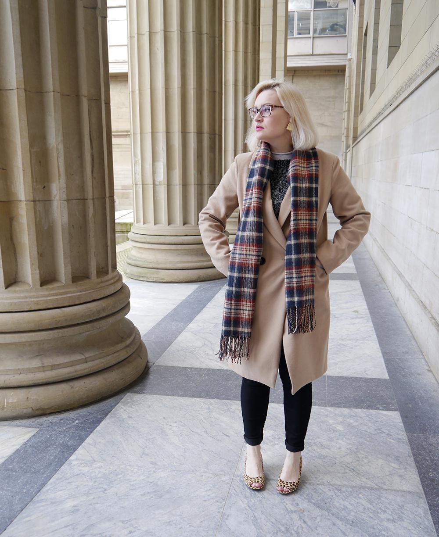 oasis camel coat, tartan scarf style, IOLLA glasses, Caird Hall Dundee, #dundeebloggers, Scottish fashion blogger, leopard print peeptoe shoes, lou lous vintage fair