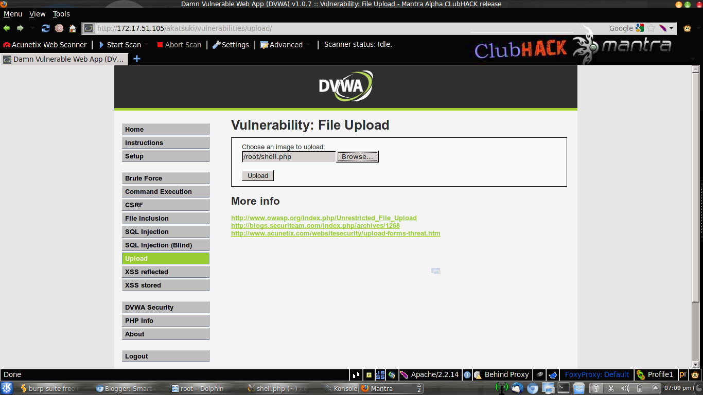 Web Application Security: DVWA Upload with low,medium and