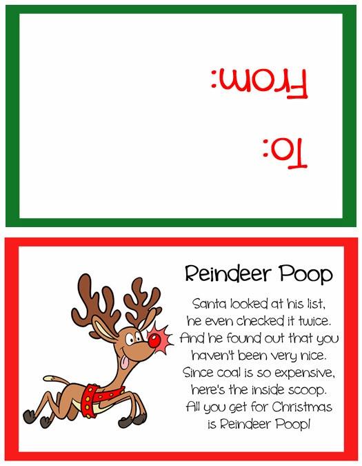 Reindeer Poop Stocking Stuffer Or Party Favor Free Printable