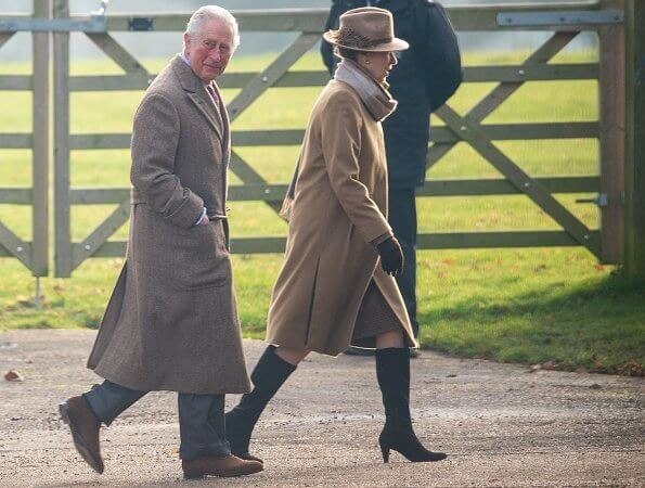 The Countess of Wessex wore a wool coat by Max Mara. Queen Elizabeth, Prince Charles, Princess Anne, Prince Edward and Lady Louise Windsor