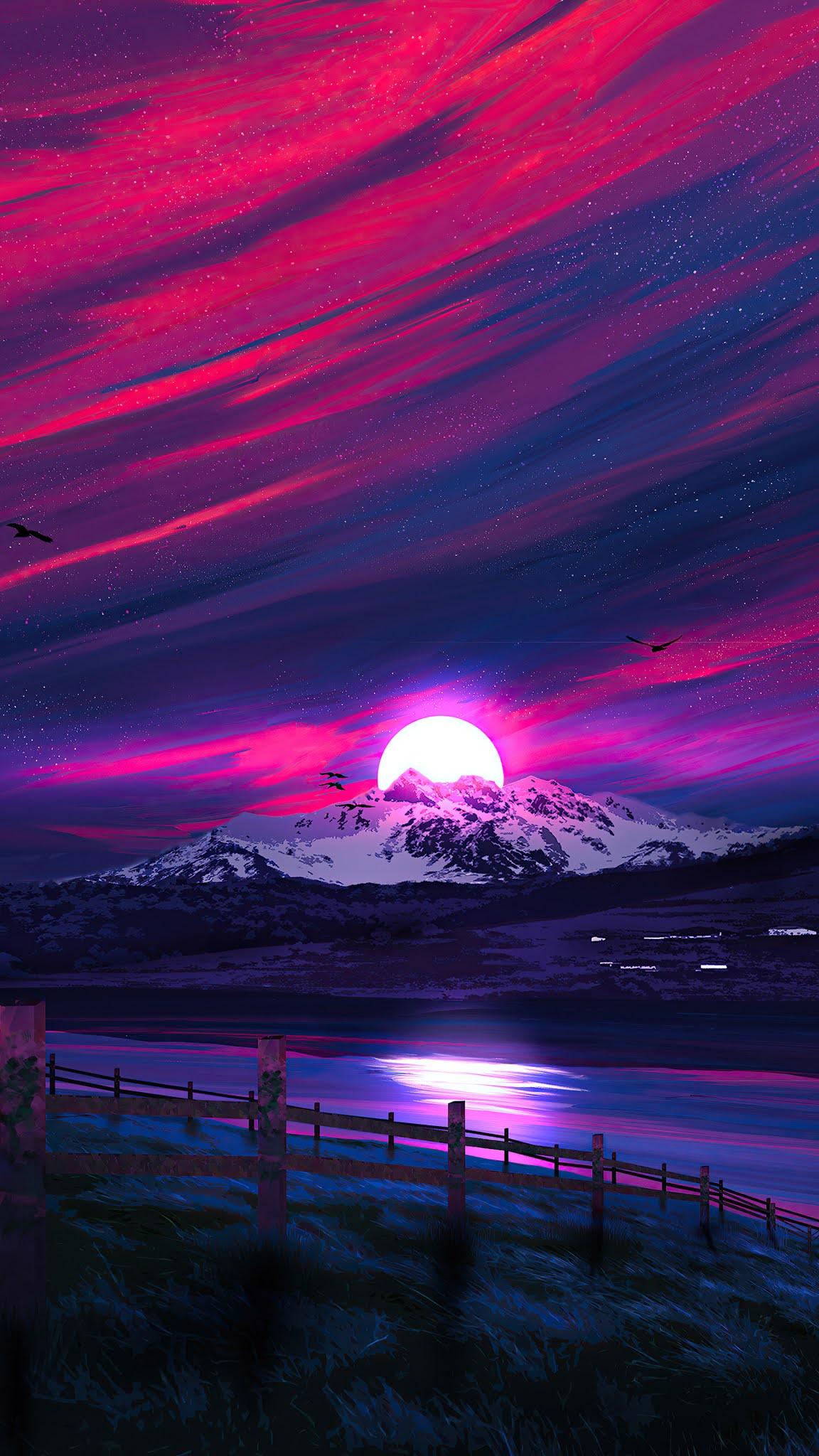 Minimal Landscape Sunrise 4k