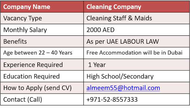 Dubai cleaning and Maid Jobs