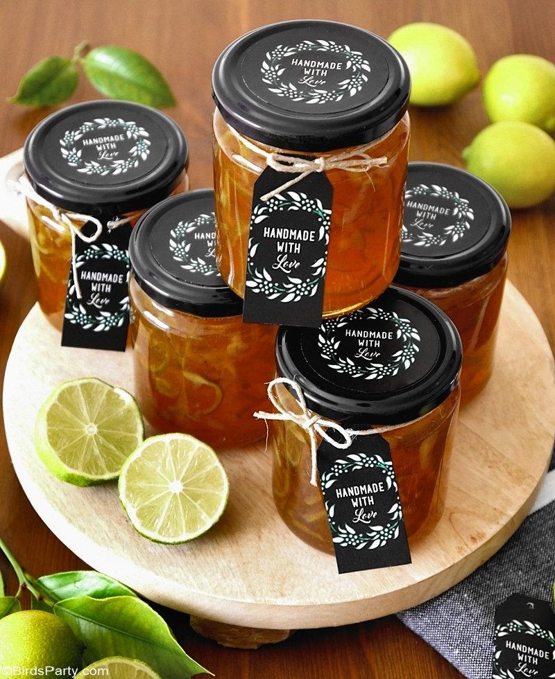 Recette Marmelade de Citron Vert et Etiquettes-Cadeaux Imprimables  - cadeau de Noël facile et peu coûteuse, pour les paniers ou plateaux gourmands!