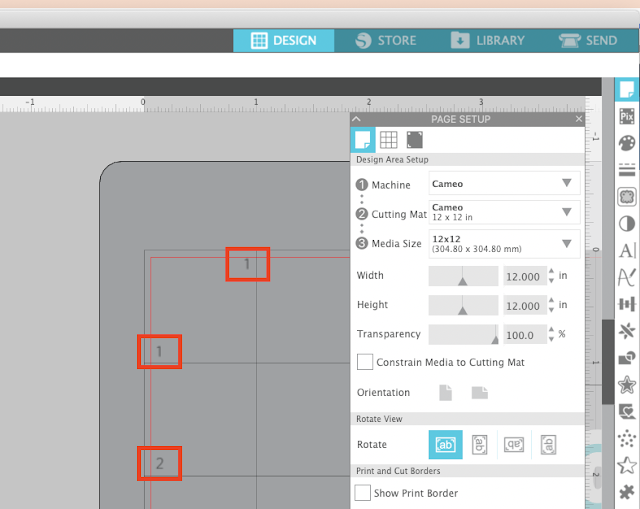 page setup panel, grid lines, silhouette studio, cameo 4, designing in studio