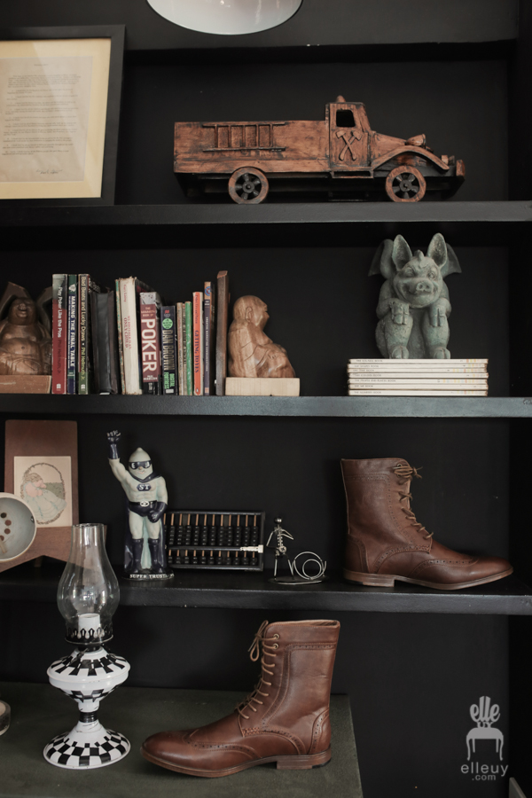 leather brogues, grooms hi-cut brogues on a black bookshelf