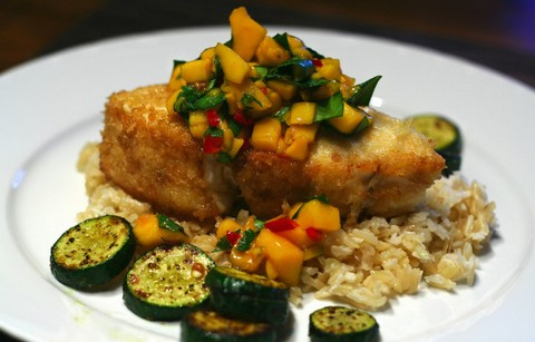 Pan-Fried Halibut with Mango Salsa and Coconut Brown Rice