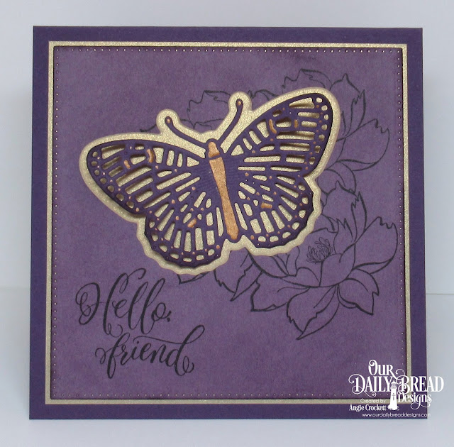 ODBD Hello Friend Stamp/Die Duos, ODBD Custom Fancy Fritillary Dies, ODBD Custom Pierced Squares Dies, Card Designer Angie Crockett