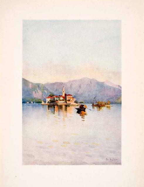 1908. Isola Pescatori Fishers - Island Sasso di Ferro Lake Maggiore - Italy - Print