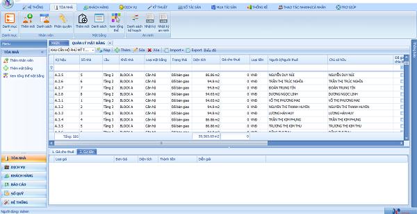 Giao diện phần mềm quản lý tòa nhà Indochina Plaza
