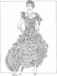 surprising womens clothing with flower printable coloring pages