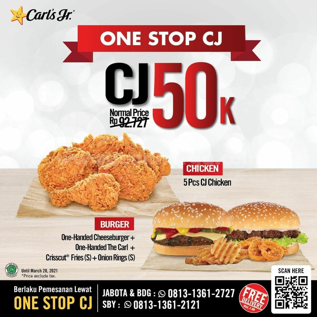 CARL'S JR Promo Paket CJ Chicken 5pcs! Makan Berdua hanya 50K