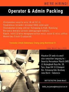 Lowongan Kerja PT Masplast Poly Film Bandung 2020