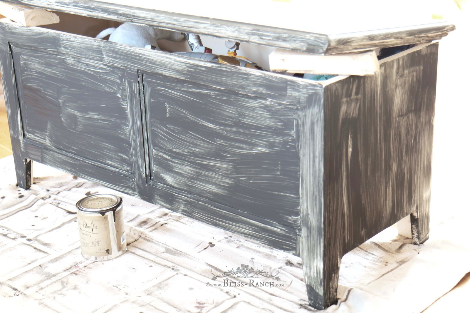 Toy Box to Spool Cabinet with Maison Blanche Paint, Bliss-Ranch.com