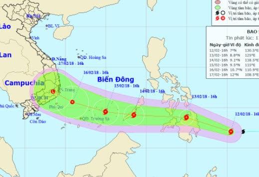 Dự báo vị trí và hướng di chuyển của bão Sanba - Nguồn: Trung tâm Dự báo khí tượng thuỷ văn Trung ương