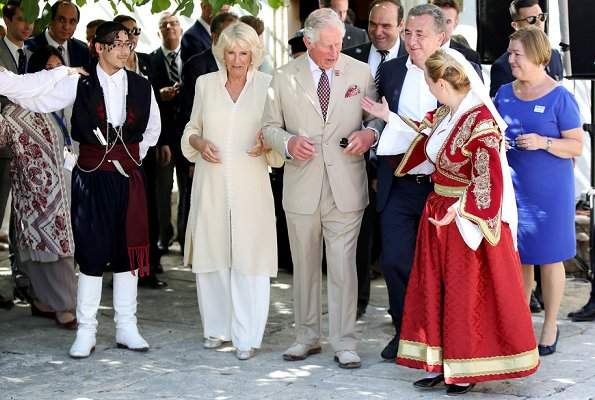 Prince Charles of Wales and Duchess Camilla of Cornwall visited the Knossos Archaeological Site and Knossos Research Centre in Crete. Acharnes
