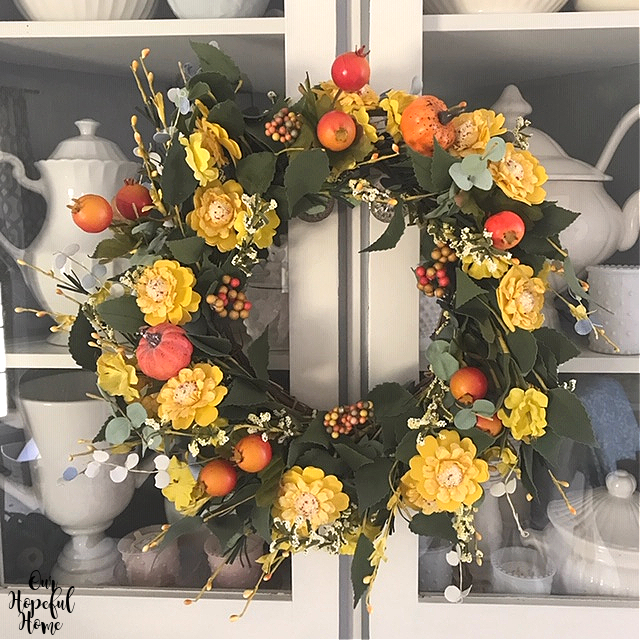 floral fall autumn DIY wreath ironstone cabinet