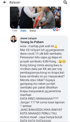 Bansos Kota Manado Dikawal Polres, BPKP, Inspektorat, Pers. Anggota Legislator Jeane Laluyan Tak Percaya Aparat?