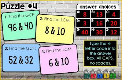 CF and LCM digital math escape room - puzzle #4