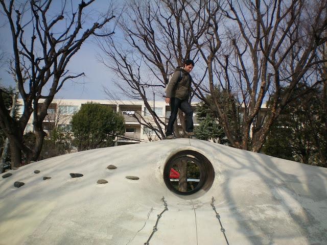En un parque en el barrio de Kagurazawa