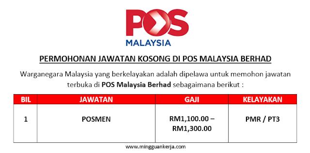 Permohonan Jawatan Kosong POS Malaysia Berhad Dibuka Julai 2019