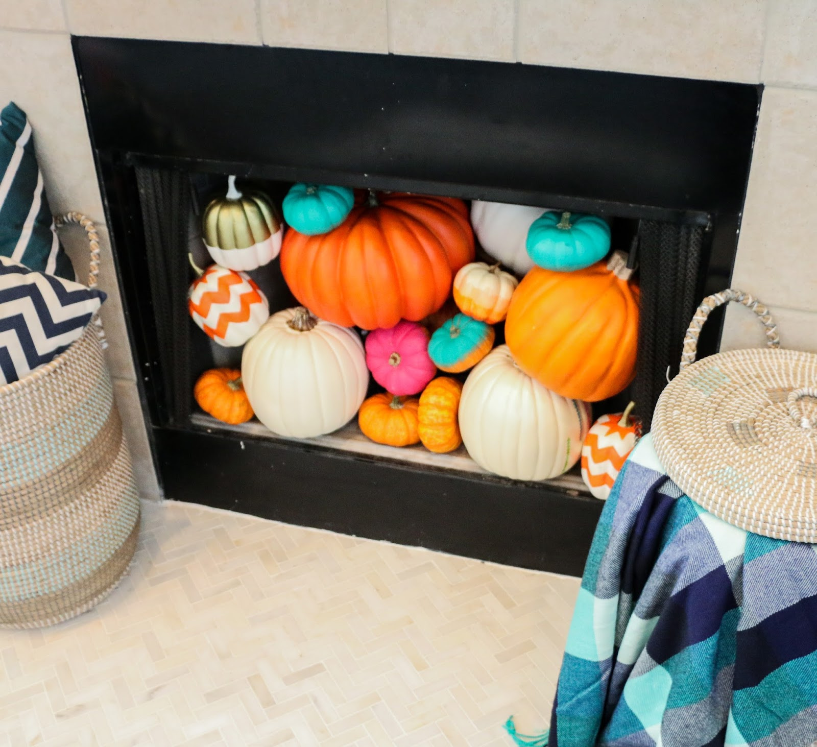 Style It - A Pumpkin Filled Fireplace - A Kailo Chic Life