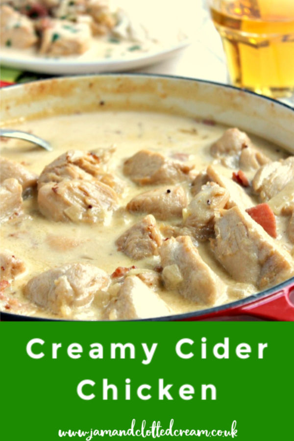 A creamy cider chicken dish made with diced chicken breasts and smoked bacon, in a creamy mustard and cider sauce #ciderchicken #chickenrecipe #dinner #easyrecipe
