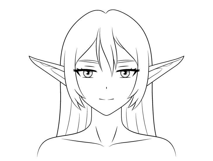 Gadis peri anime mengangkat telinga menggambar